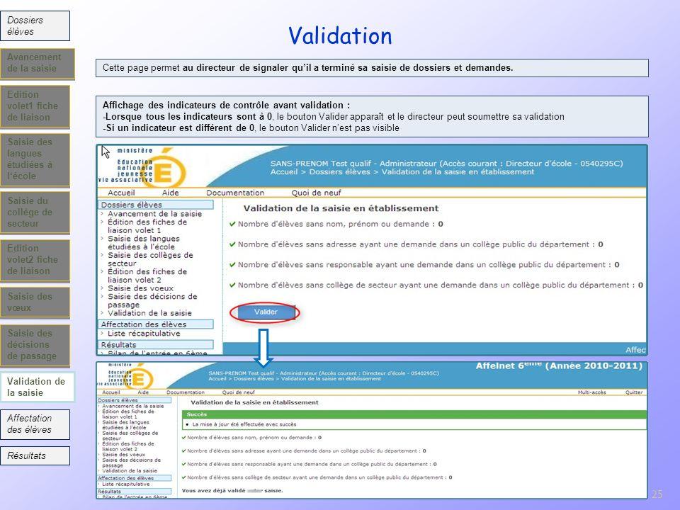 Validation 25 Dossiers élèves Avancement de la saisie