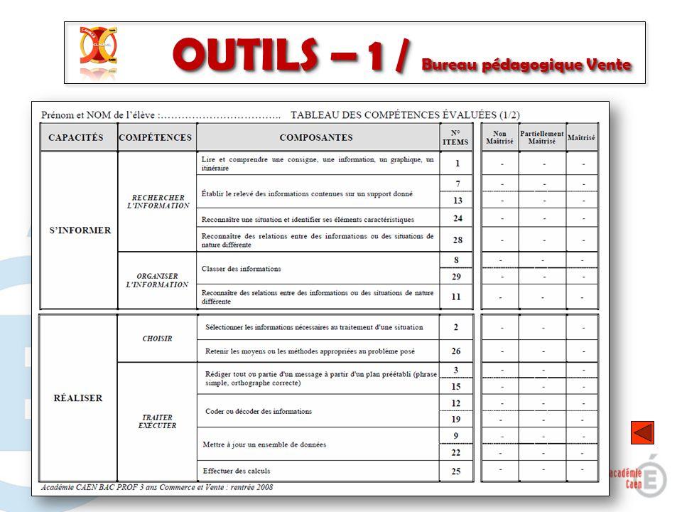 OUTILS – 1 / Bureau pédagogique Vente