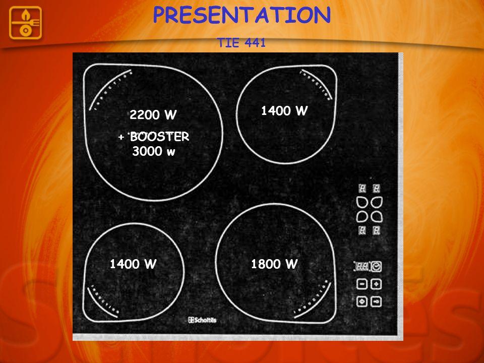 PRESENTATION TIE 441 1400 W 2200 W + BOOSTER 3000 w 1400 W 1800 W