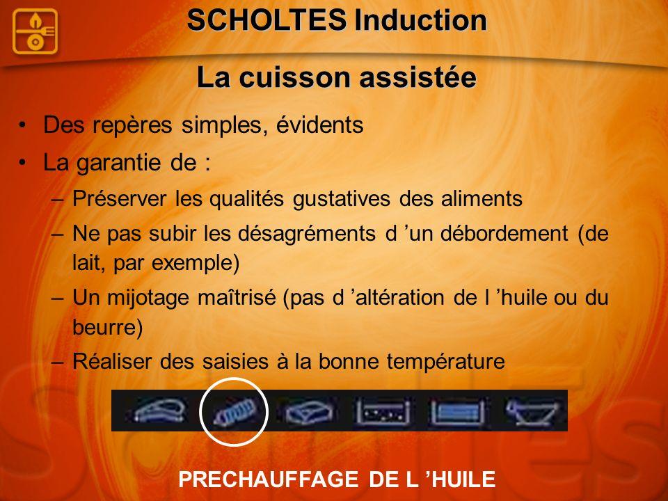 SCHOLTES Induction La cuisson assistée PRECHAUFFAGE DE L 'HUILE