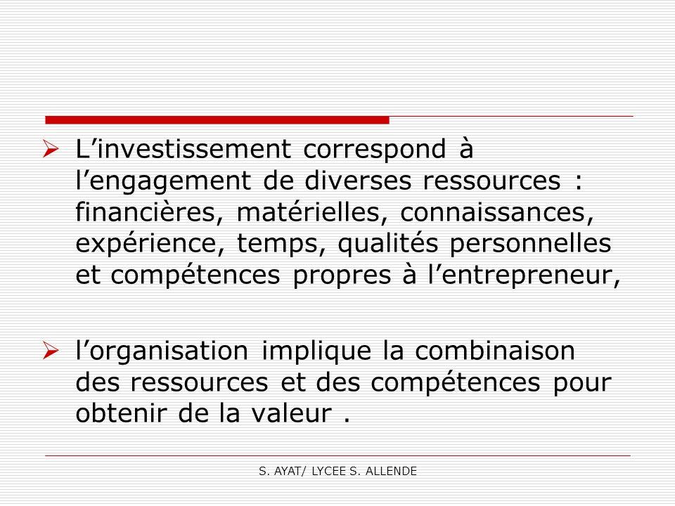 L'investissement correspond à l'engagement de diverses ressources : financières, matérielles, connaissances, expérience, temps, qualités personnelles et compétences propres à l'entrepreneur,