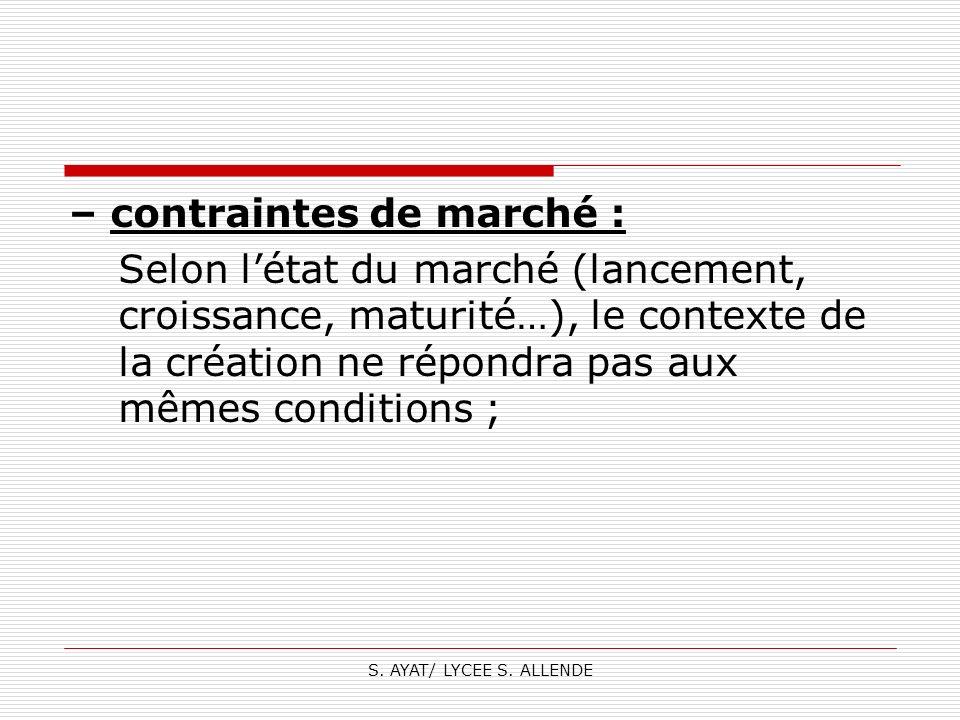 – contraintes de marché :
