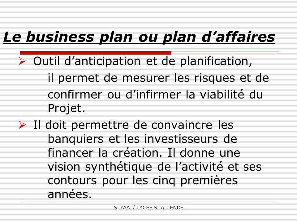 Le business plan ou plan d'affaires
