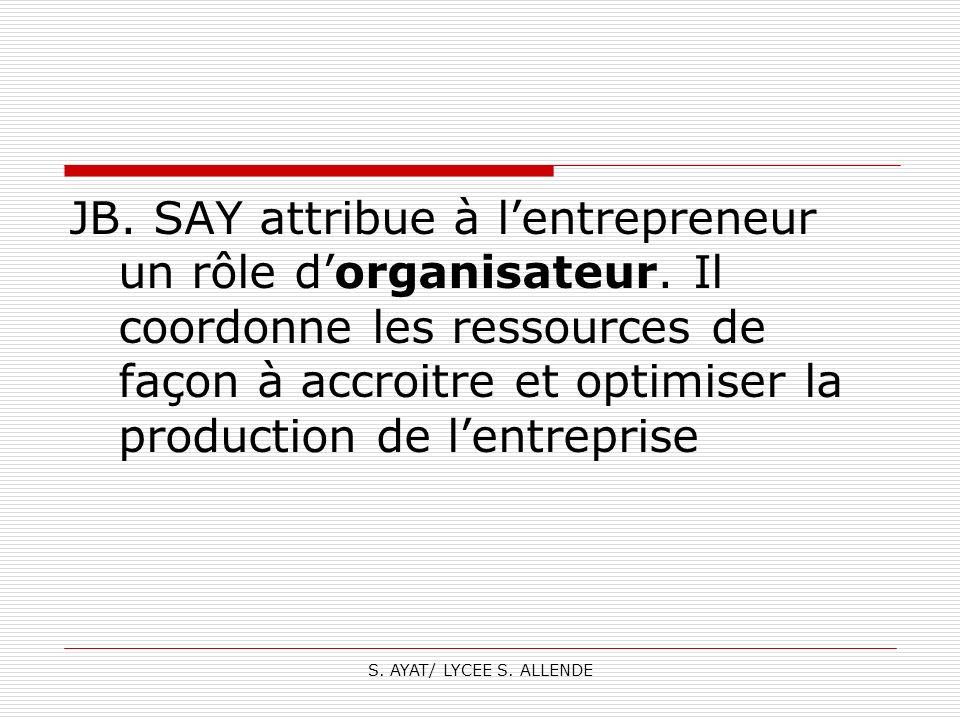 JB. SAY attribue à l'entrepreneur un rôle d'organisateur