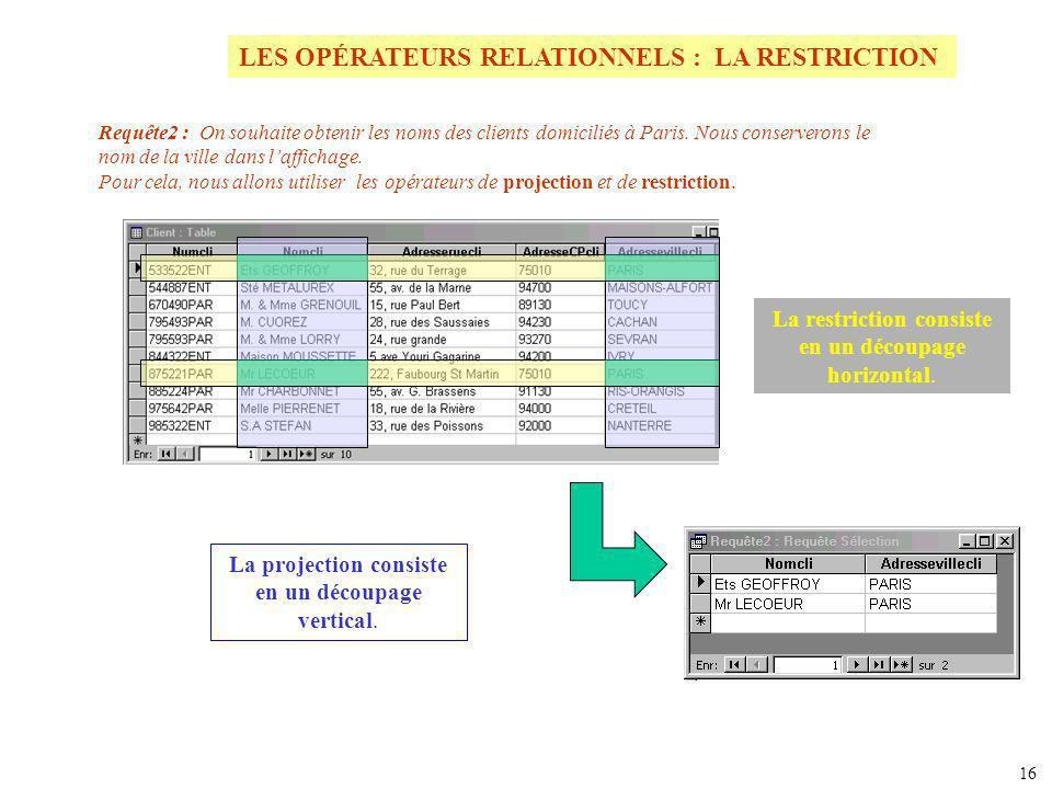 LES OPÉRATEURS RELATIONNELS : LA RESTRICTION