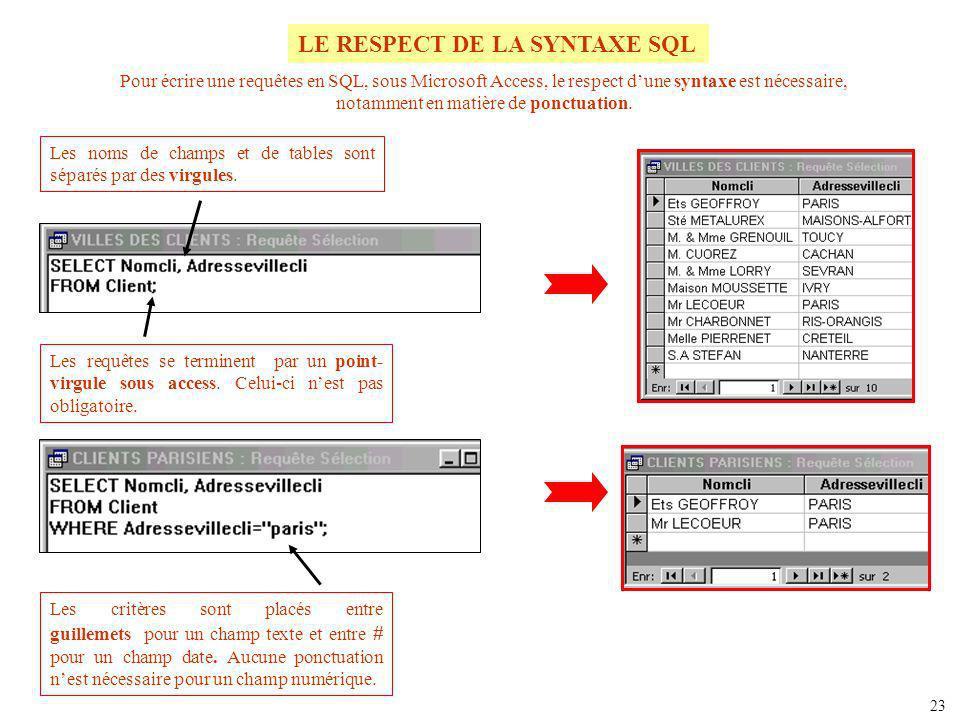 LE RESPECT DE LA SYNTAXE SQL