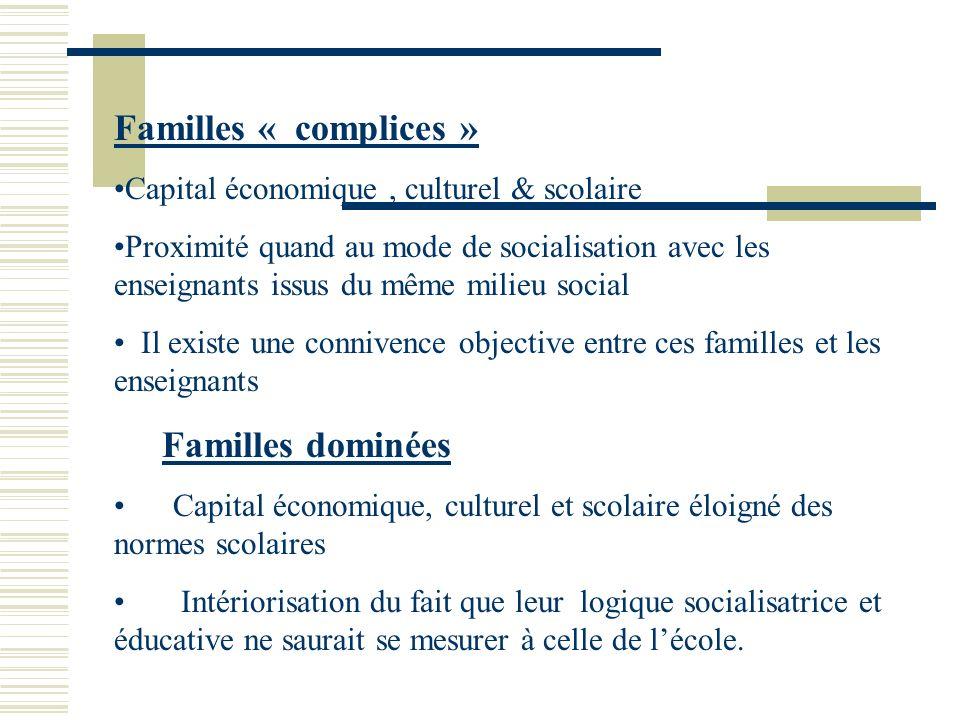 Familles « complices » Capital économique , culturel & scolaire