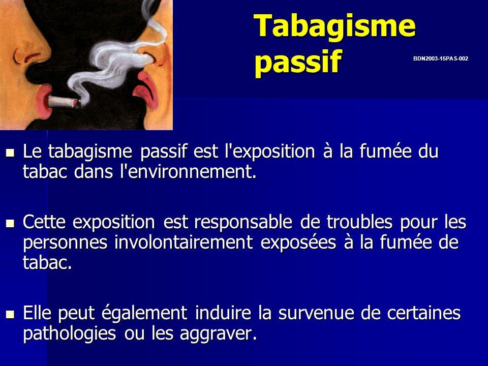 Tabagisme passifBDN2003-15PAS-002. Le tabagisme passif est l exposition à la fumée du tabac dans l environnement.