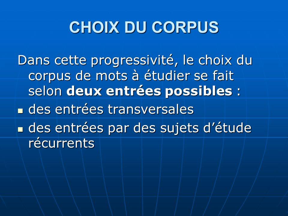CHOIX DU CORPUS Dans cette progressivité, le choix du corpus de mots à étudier se fait selon deux entrées possibles :