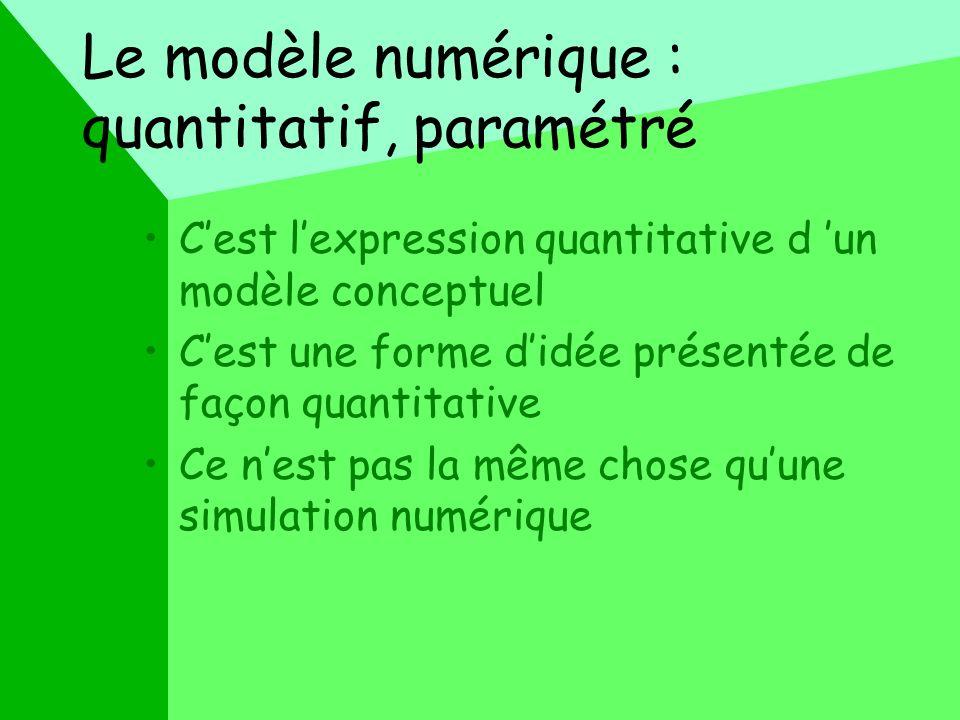 Le modèle numérique : quantitatif, paramétré