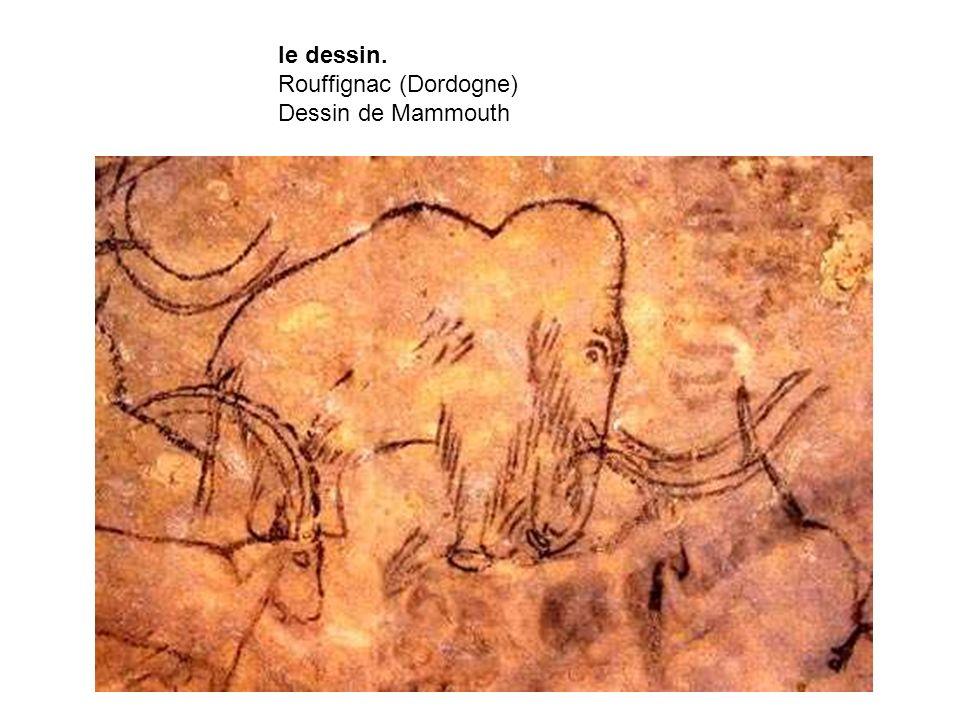 le dessin. Rouffignac (Dordogne) Dessin de Mammouth