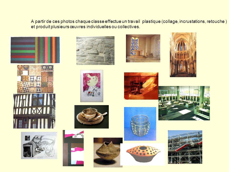 A partir de ces photos chaque classe effectue un travail plastique (collage, incrustations, retouche ) et produit plusieurs œuvres individuelles ou collectives.