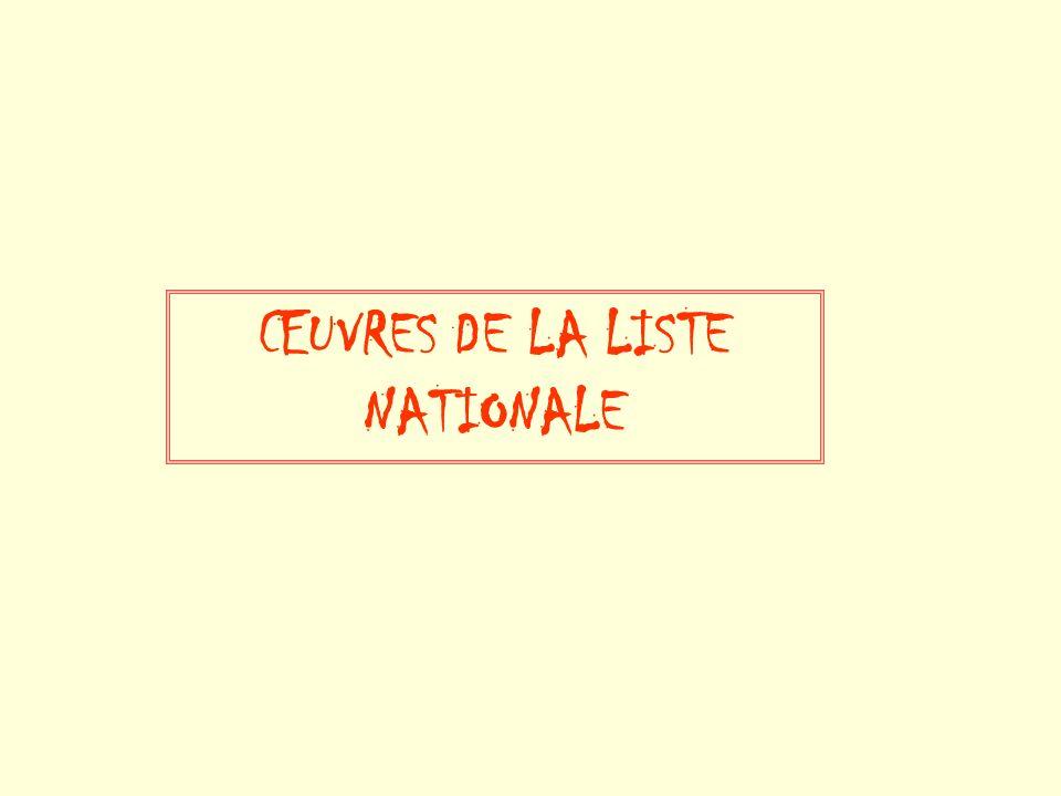 ŒUVRES DE LA LISTE NATIONALE