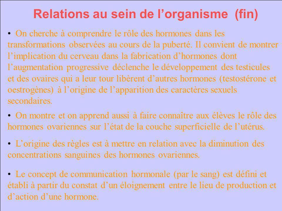 Relations au sein de l'organisme (fin)