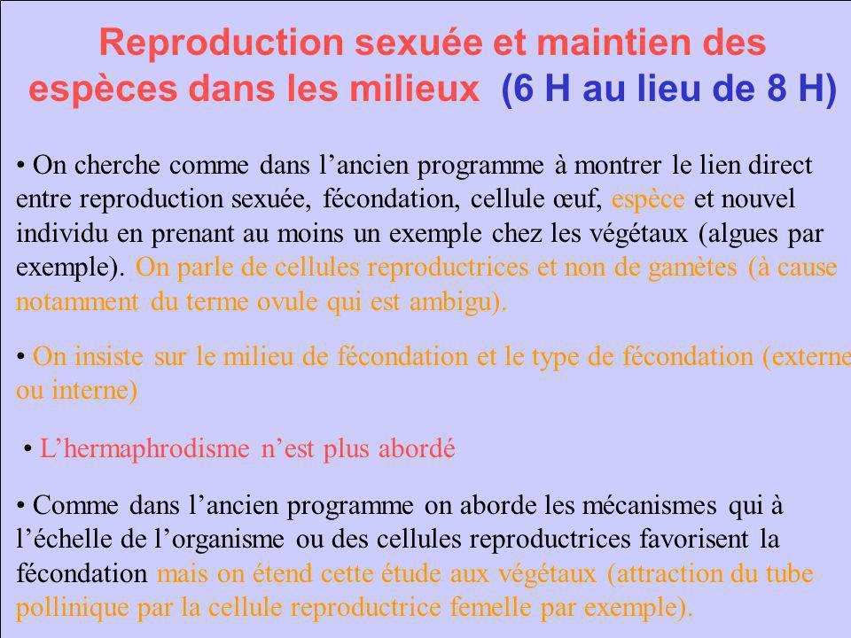 Reproduction sexuée et maintien des espèces dans les milieux (6 H au lieu de 8 H)