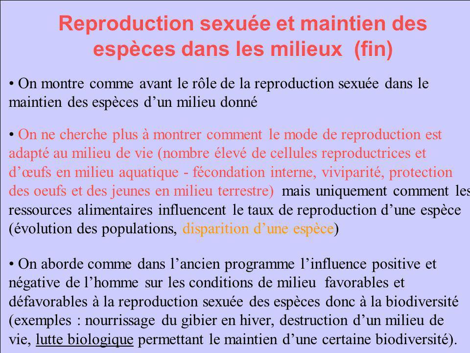 Reproduction sexuée et maintien des espèces dans les milieux (fin)