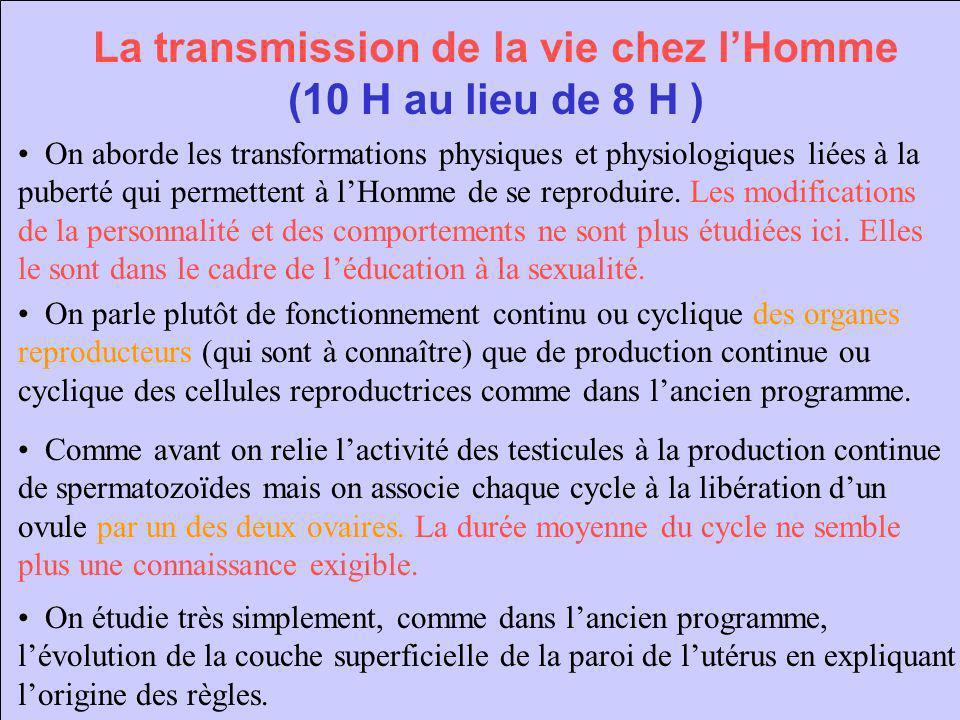 La transmission de la vie chez l'Homme (10 H au lieu de 8 H )
