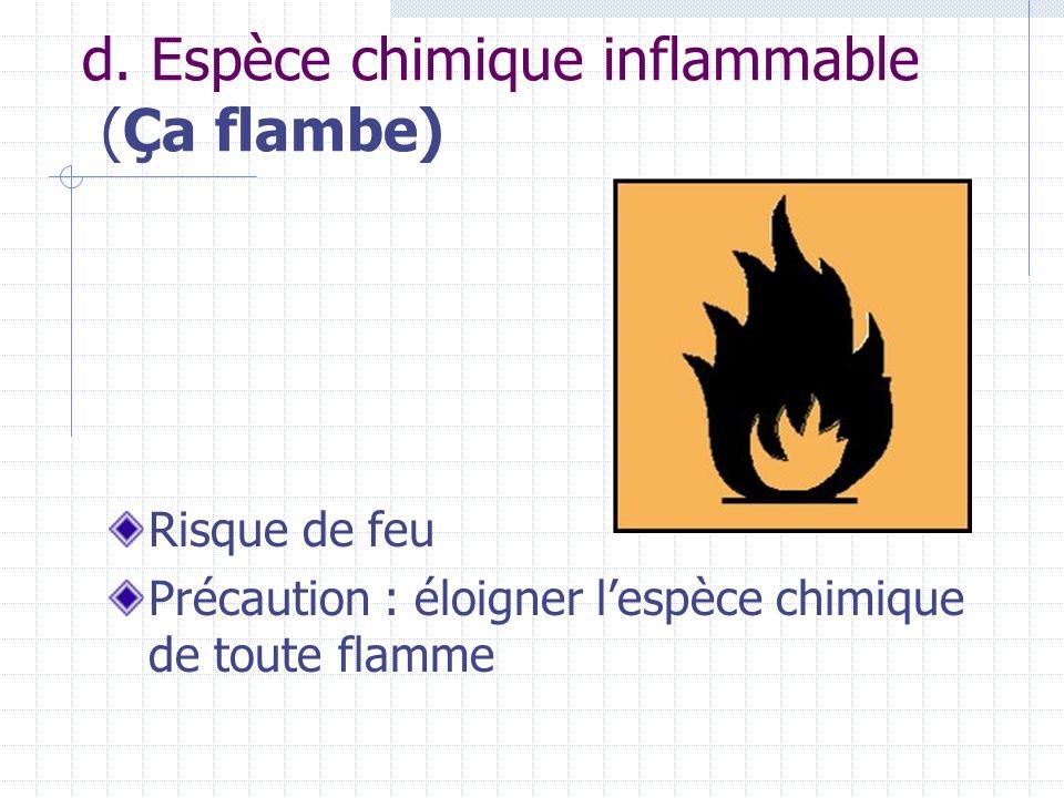 d. Espèce chimique inflammable (Ça flambe)