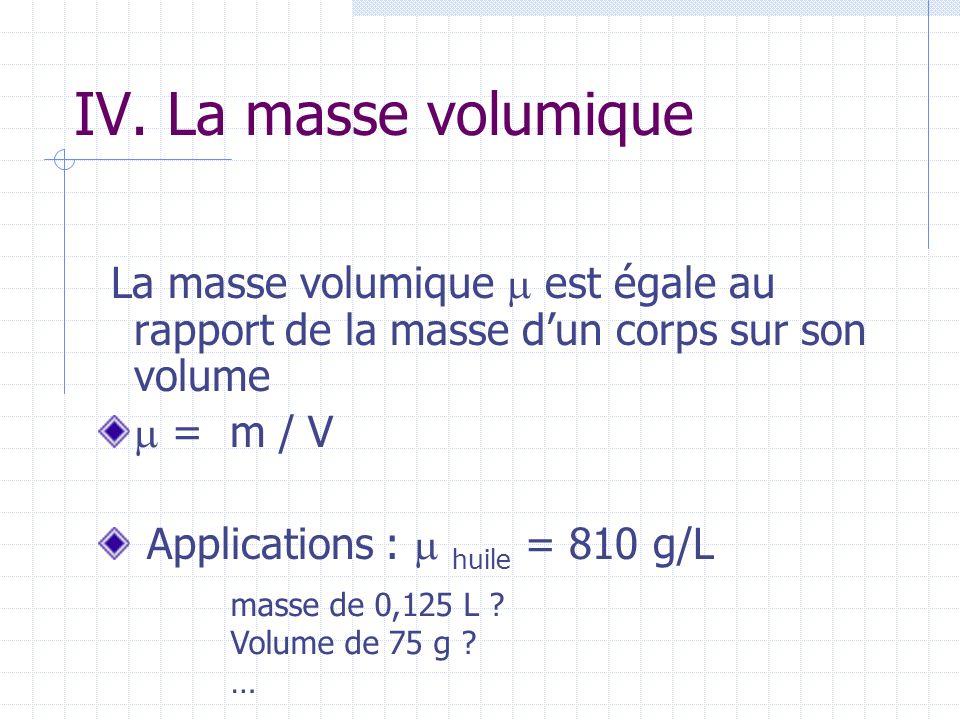 IV. La masse volumique La masse volumique  est égale au rapport de la masse d'un corps sur son volume.