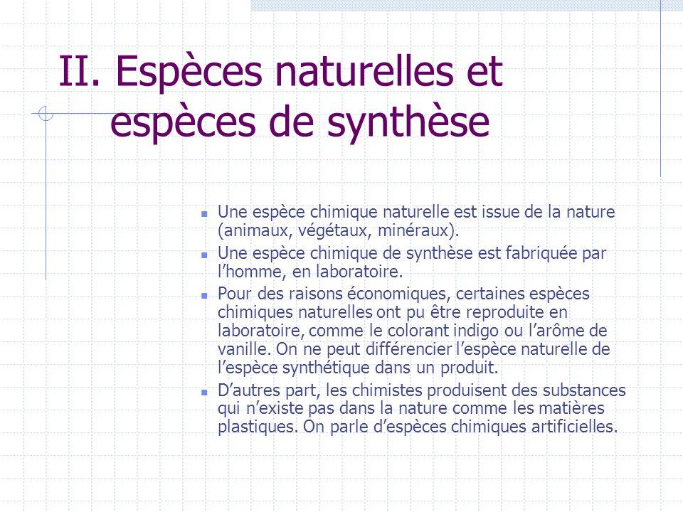 II. Espèces naturelles et espèces de synthèse