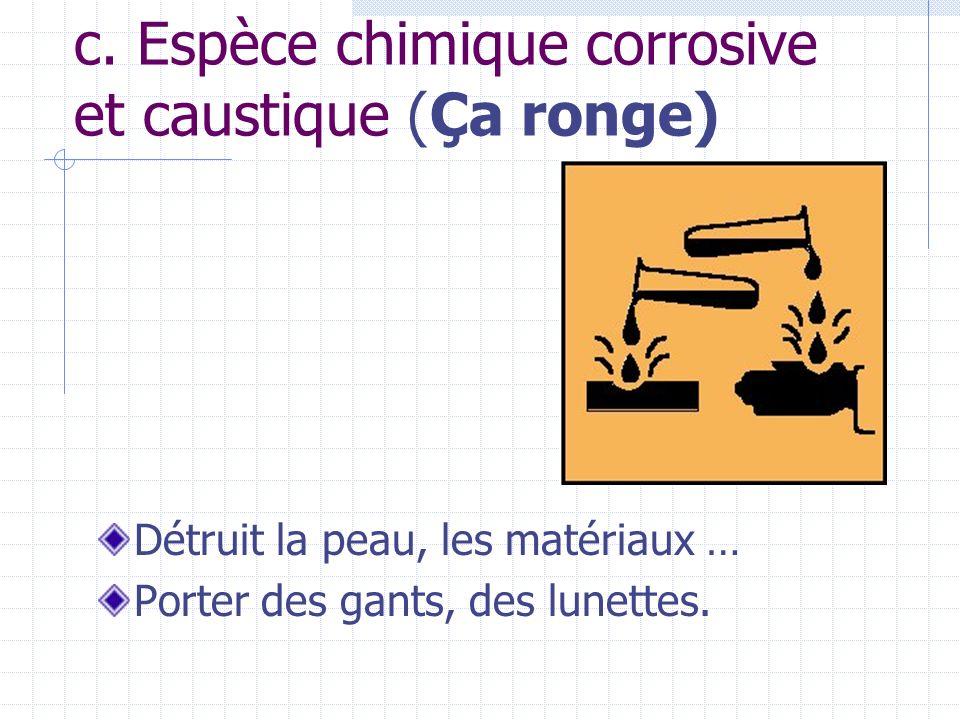 c. Espèce chimique corrosive et caustique (Ça ronge)