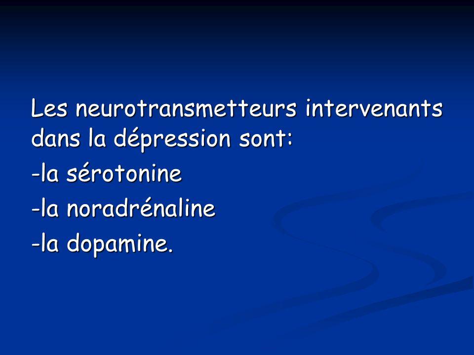 Les neurotransmetteurs intervenants dans la dépression sont: