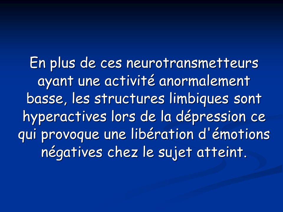 En plus de ces neurotransmetteurs ayant une activité anormalement basse, les structures limbiques sont hyperactives lors de la dépression ce qui provoque une libération d émotions négatives chez le sujet atteint.