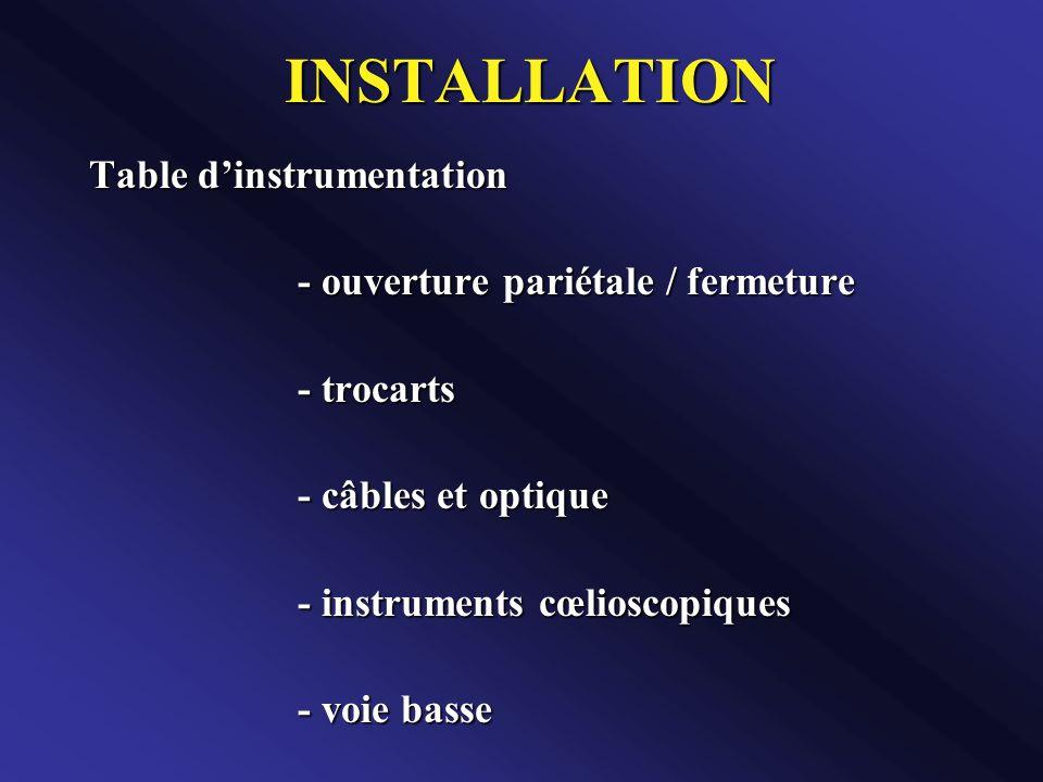 INSTALLATION Table d'instrumentation - ouverture pariétale / fermeture