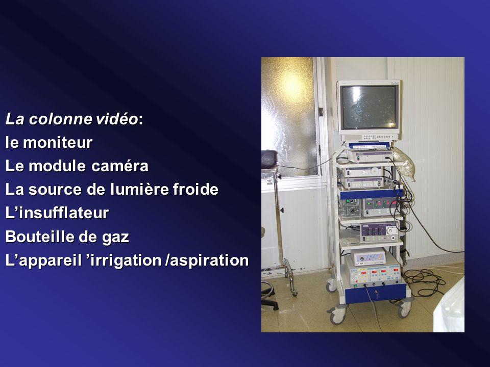 La colonne vidéo: le moniteur. Le module caméra. La source de lumière froide. L'insufflateur. Bouteille de gaz.