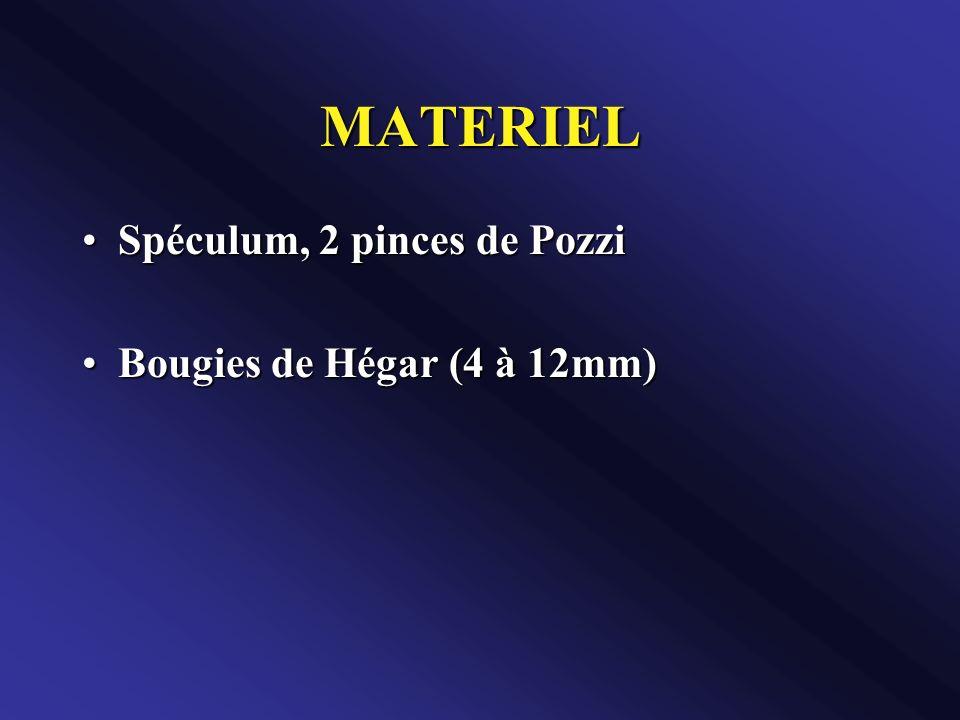 MATERIEL Spéculum, 2 pinces de Pozzi Bougies de Hégar (4 à 12mm)