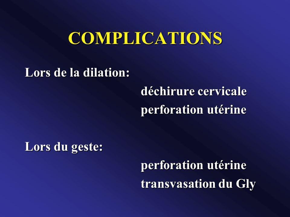 COMPLICATIONS Lors de la dilation: déchirure cervicale
