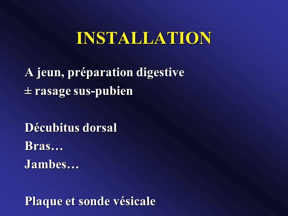 INSTALLATION A jeun, préparation digestive ± rasage sus-pubien