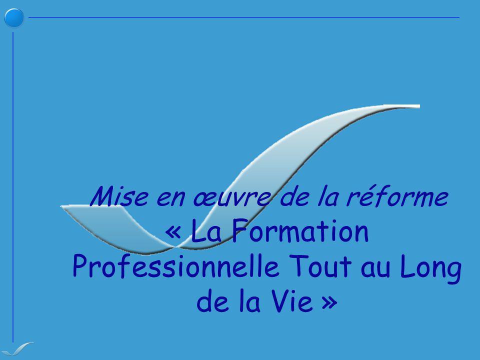 Mise en œuvre de la réforme « La Formation Professionnelle Tout au Long de la Vie »