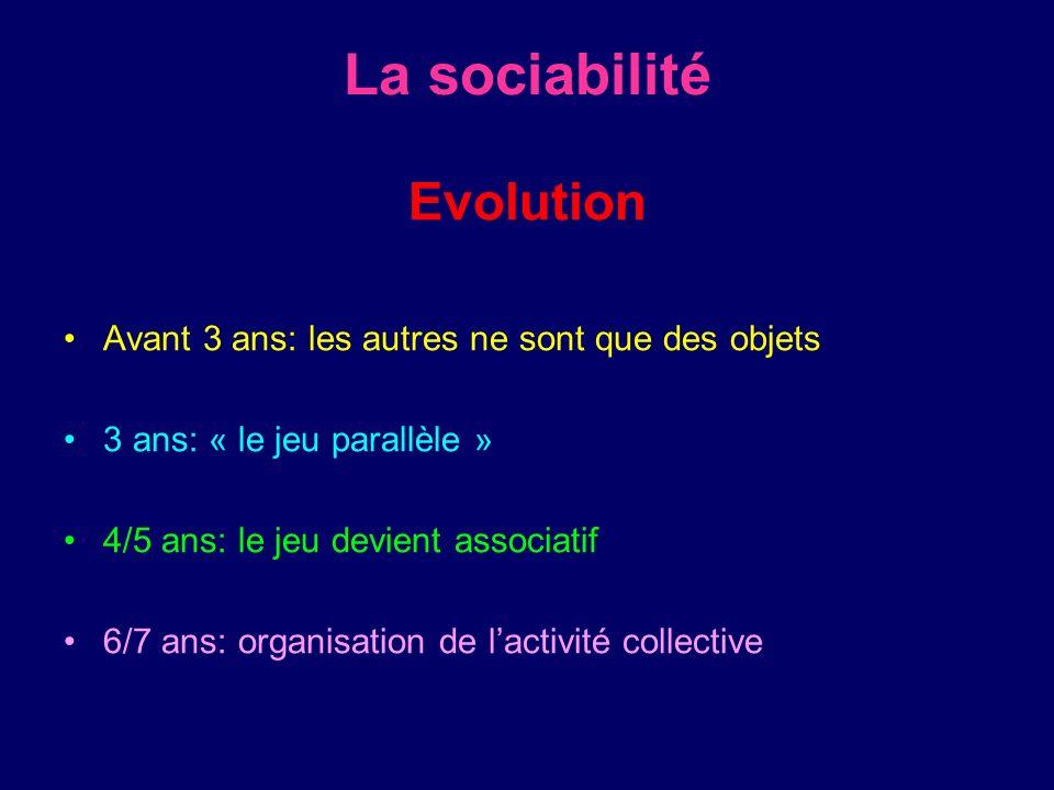 La sociabilité Evolution