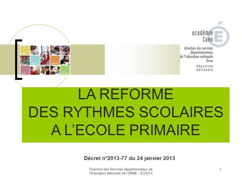 LA REFORME DES RYTHMES SCOLAIRES A L'ECOLE PRIMAIRE