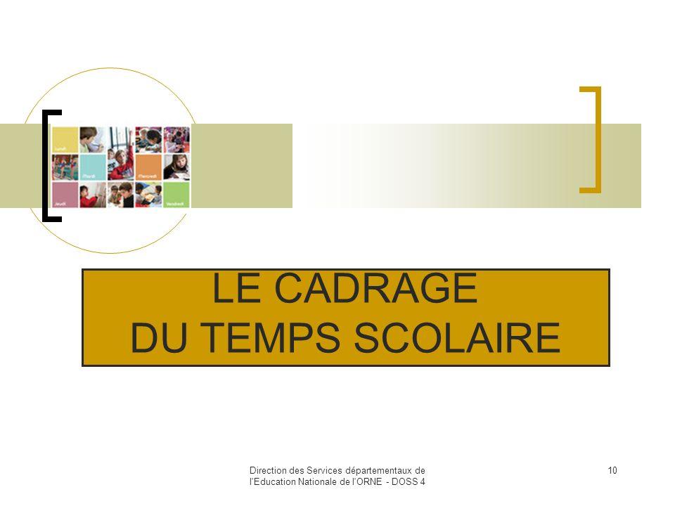 LE CADRAGE DU TEMPS SCOLAIRE 10
