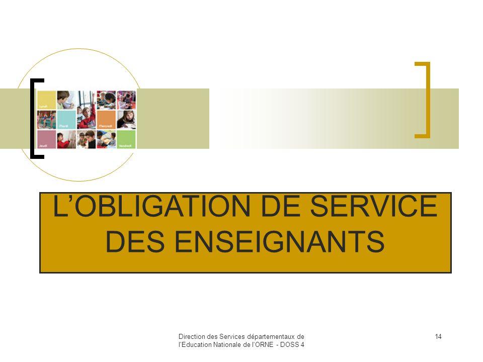 L'OBLIGATION DE SERVICE