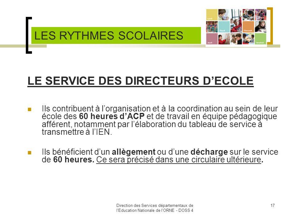 LE SERVICE DES DIRECTEURS D'ECOLE