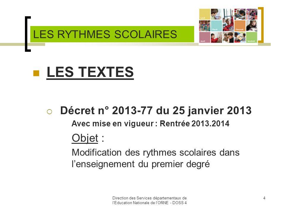 LES TEXTES LES RYTHMES SCOLAIRES Décret n° 2013-77 du 25 janvier 2013