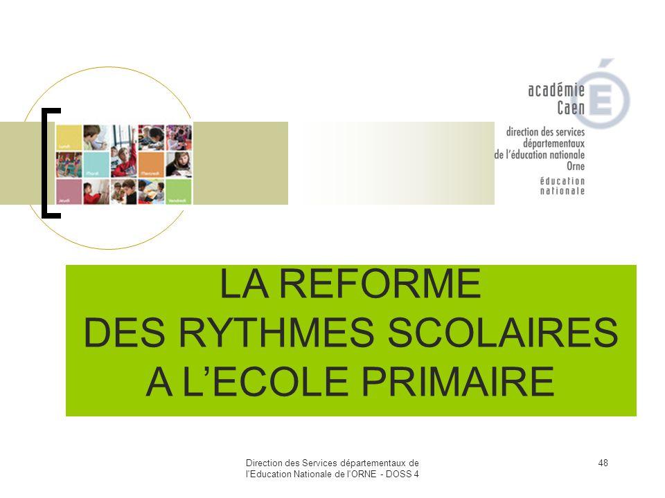 LA REFORME DES RYTHMES SCOLAIRES A L'ECOLE PRIMAIRE 48