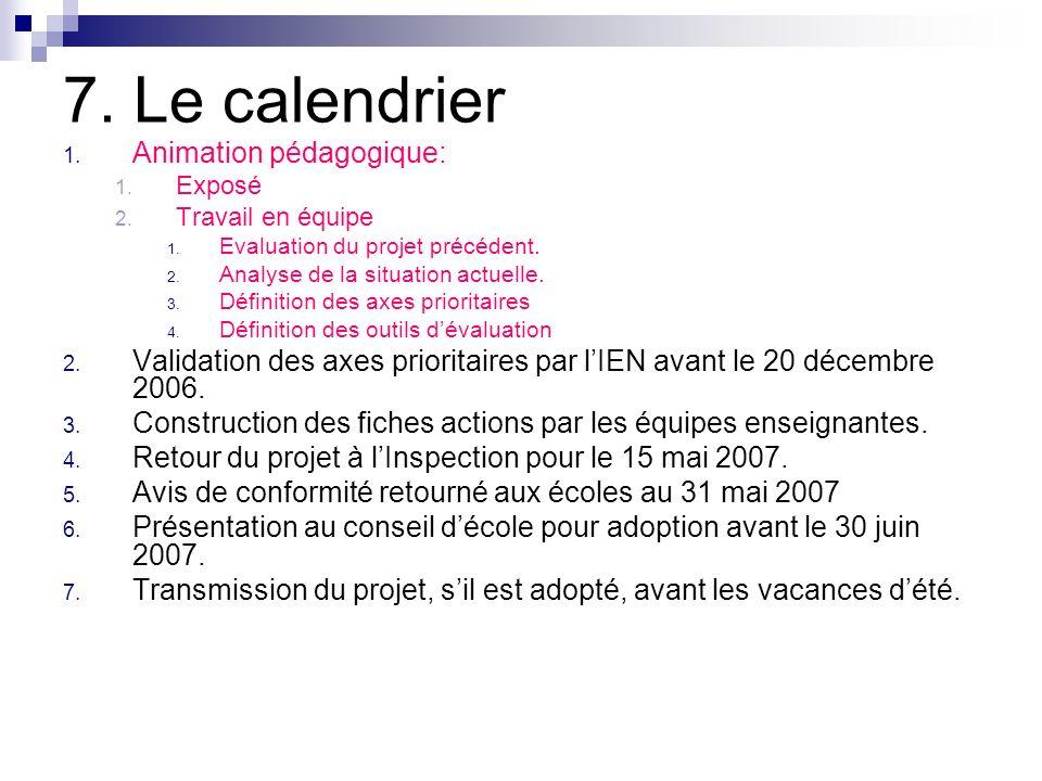 7. Le calendrier Animation pédagogique: