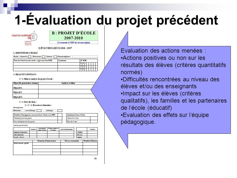 1-Évaluation du projet précédent