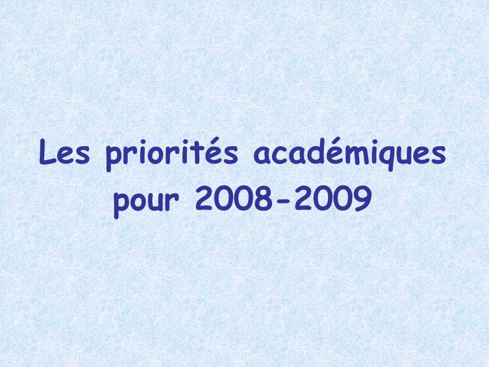 Les priorités académiques pour 2008-2009