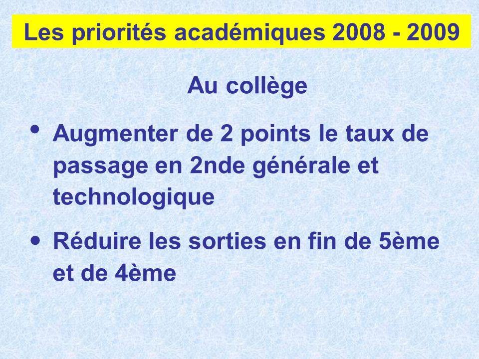 Les priorités académiques 2008 - 2009