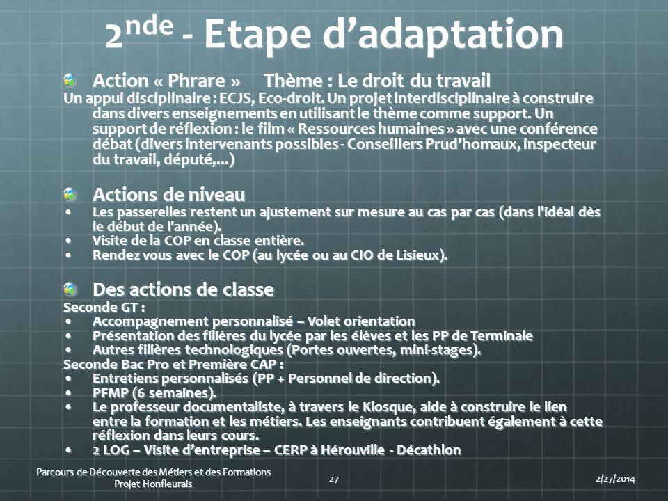 2nde - Etape d'adaptation