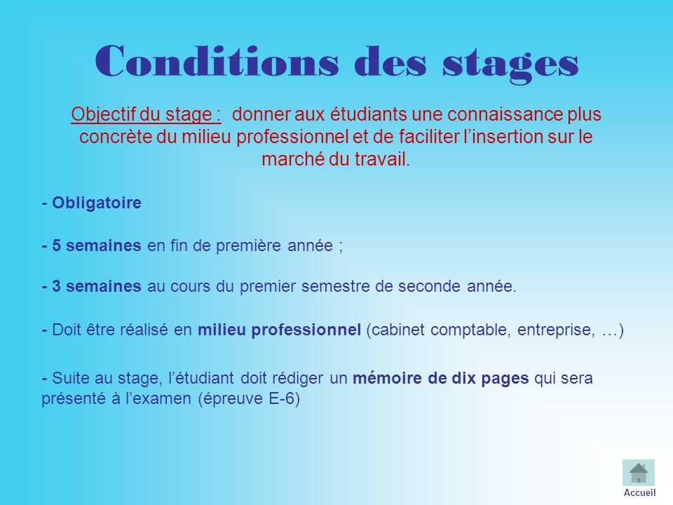 Conditions des stages