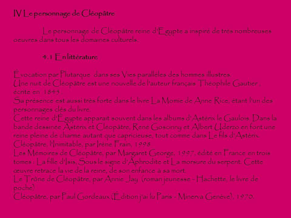 IV Le personnage de Cléopâtre