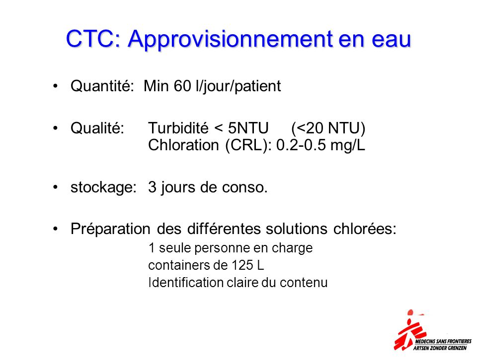 CTC: Approvisionnement en eau