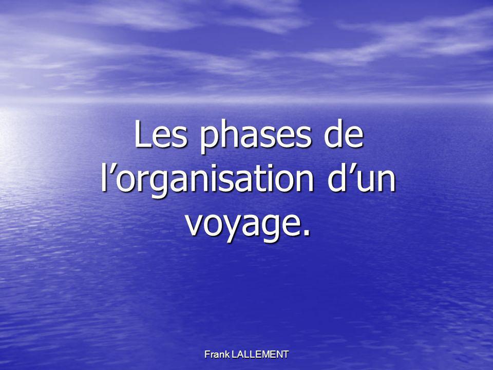 Les phases de l'organisation d'un voyage.