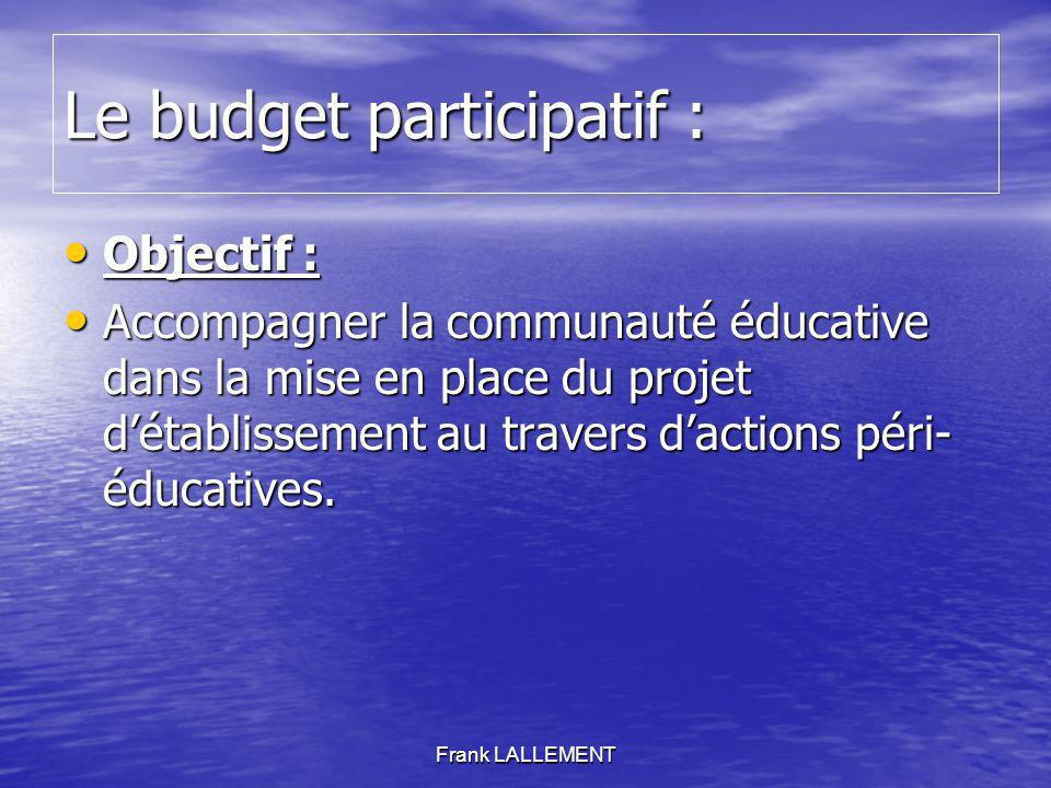 Le budget participatif :